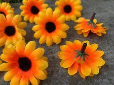 Sunflower x10 Artificial Flower Tops Crafting Scrapbooking Decor —Orange