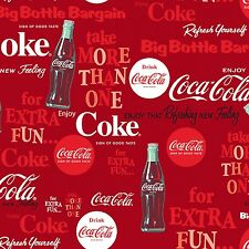 COCA COLA LOGOS & BOTTLES 2- ALL OVER FABRIC MATERIAL, From Sykel Enterprises