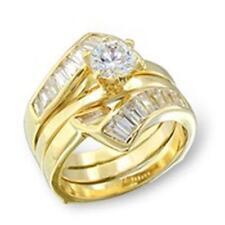 14K GOLD EP 3.8CT DIAMOND SIMULATED WEDDING SET RING size 11 or V 1//2