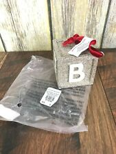 NEW Pottery Barn Kids Silver Glitter Baby Block Christmas Ornament Gift Nursery