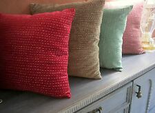 Velvet Cushion Cover: India Hand Made Cotton Embroidered Stitch Pillowcase Slip