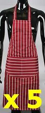 Lot Of Five (5) 100% Cotton Maroon & White Striped Butchers Catering Chefs Apron