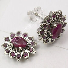 925 Silver NATURAL RUBY GEMSTONE STUDS Earrings 1.4CM