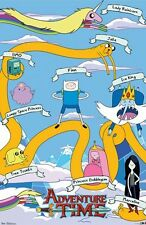 ADVENTURE TIME POSTER ~ CHARACTER NAMES 22x34 Cartoon Network Finn Jake Ooo
