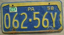 1958 1964 PENNSYLVANIA LICENSE PLATE # 062-56Y