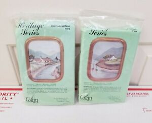Lot of 2 VTG Cathy Needlecraft Embroidery Kits French Cottage Riverside Cottage