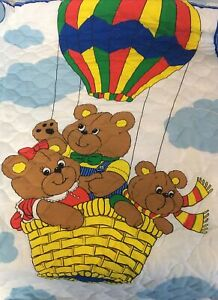 """Vintage Thats Our Baby Quilted Crib Blanket BEAR BALLOONS Ruffle 1980s 33""""X42.5"""""""