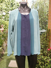 Ladies Blouse - Green & Navy - Long Sleeve - Size L - NWT