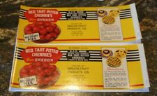 LOT OF 2  RED TART PITTED CHERRIES LABELS , Oregon Fruit Products