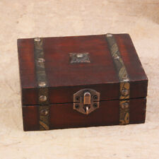 Wood Retro Lock Jewelry Storage Organizer Wooden Case Treasure Chest Box Vintage