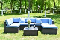 Outdoor 7 Pcs Patio Wicker Rattan Sofa Sectional Set Cushioned Furniture Couch
