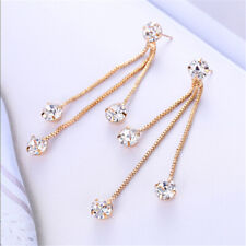 Fashion Women's Charm Rhinestone Long Tassels Drop Dangle Party Linear Earrings