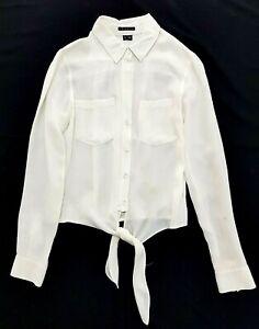 Theory White Button Up Silk Shirt Size P Womens