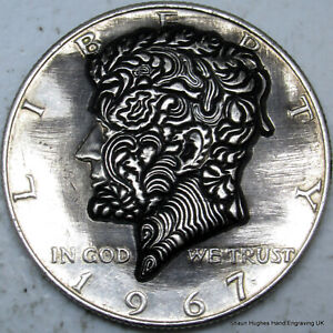 1967 'Fall' by Shaun Hughes JFK half dollar Hobo Nickel