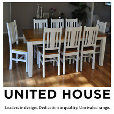 White 8 Seater Timber Dining Table and Chairs French Provincial Furniture Set