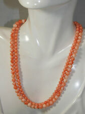 "Peach Angel Skin Coral Bead Double Strand 15"" Necklace Silver Toggle Clasp 6d 70"