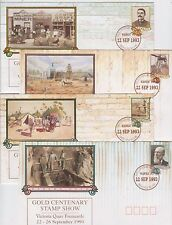 Stamps Australia set 4 pse WAPEX Gold Centenary Stamp Show overprint & postmark