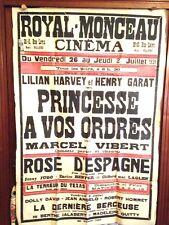 """AFFICHE ORIGINALE DU CINEMA """"LE ROYAL MONCEAU"""" Paris. de 1931"""