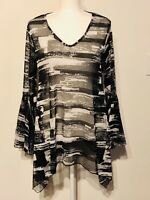 Dor Dor Couture Anthropologie Blk And White Sheer Mesh Long Bell Sleeves Women L