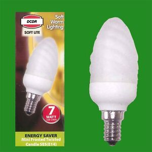 4x 7W Low Energy CFL Mini Frosted Twisted Candle Light Bulbs E14 SES 2700K Lamps
