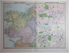 1920 LARGE MAP IRELAND ROSCOMMON MAYO GALAWAY ~ LONDON EDINBURGH DUBLIN PLANS
