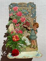 1910's 3-D Pull Down Valentine's Day Card- Little Girl with Lots of Flowers