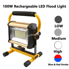 100W Rechargeable LED Work Light Flood Lights with Stand for Workshop Outdoor