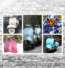 STUNNING VESPA SCOOTERS MODS CANVAS COLLAGE #4 QUALITY BIKES A1 CANVAS WALL ART