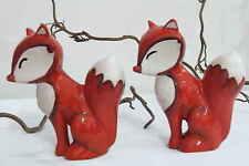 2 Füchse Fuchs Keramik rot / weiß Dekoration Weihnachtsdekoration Weihnachten