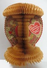 Vintage 1900's Honeycomb Tissue 3-D Valentine's Day Antique Card Diecut Heart