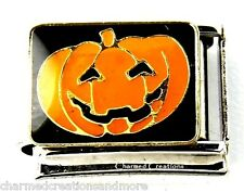 Jack-O-Lantern Pumpkin Halloween Holiday 9mm Italian Charm Stainless Steel Link