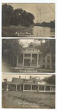 3 1907 Grand Forks North Dakota Real RPPC Hospital, Red River,  Country Club