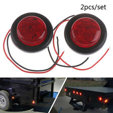 2x Red 2 inch 7 LED Round Side Marker Clearance Light FOR Truck Trailer Campe SL