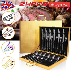 24pcs Rainbow Cutlery Set Stainless Steel Colorful Iridescent Spoon Forks Pieces