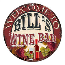 CMWB-0159 Welcome to BILL'S WINE BAR Chic Tin Sign Man Cave Decor Gift