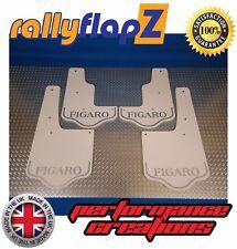 rallyflapZ NISSAN FIGARO Replica Mudflaps Mud Flaps White Logo Silver 4mm PVC