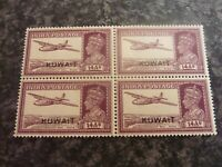 KUWAIT INDIA POSTAGE STAMPS SG63 14AS BLOCK OF 4 1948 PURPLE UN-MOUNTED MINT