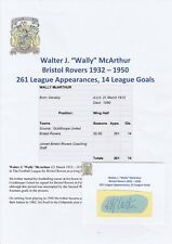 Wally McArthur Bristol Rovers 1932-1950 RARA Originale Firmato a Mano Taglio/Card