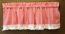 "Curtain Window Valance Kitchen 50"" X 14"" Red & white Gingham check w/ruffle"
