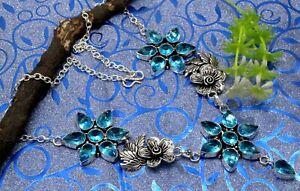 "925 Sterling Silver Swiss Blue Topaz Gemstone Jewelry Necklace S-17-18"""
