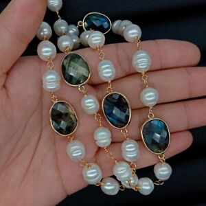 """natural oval labradorite pave White Rice Pearl Rosary sweater Chain Necklace 28"""""""