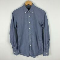 Uniqlo Mens Button Up Shirt XS Slim Extra Small Blue Long Sleeve Collared