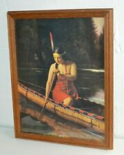Vintage Indian Maiden Painting Print Original Framed 16x20 Art Beautiful Woman