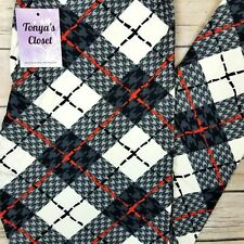 Plaid Leggings Red Black White Printed Buttery Soft ONE SIZE OS