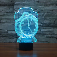 7 Colors Alarm clock Table Desk Lamp 3D Acrylic Night Light USB Touch Switch