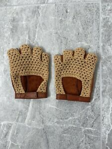 VTG Beige Leather Crotchet Driving Gloves Manual Sz M/L ALD AIME LEON DORE LIKE
