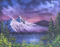 Original Landscape Oil Painting Art Decor 11x14 Canvas Bob Ross Style