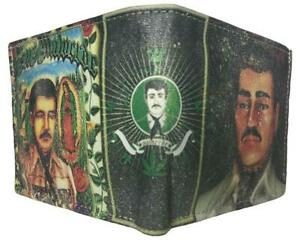 NEW JESUS MALVERDE NARCO SINALOA CARTEL LEATHER bi-fold wallet CARTERA