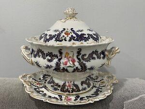 Antique Chamberlains Worcester Porcelain Punch Bowl Cobalt Eagle Gold Floral