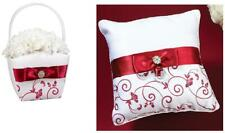 Lillian Rose Wedding Flower Girl Basket or Ring Pillow Red & White Choose Design